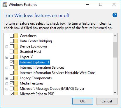 วิธีถอนการติดตั้ง IE11 จาก Windows 10